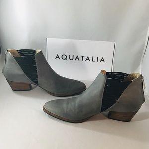 Aquatalia Farrah Gray Leather Open side Bootie